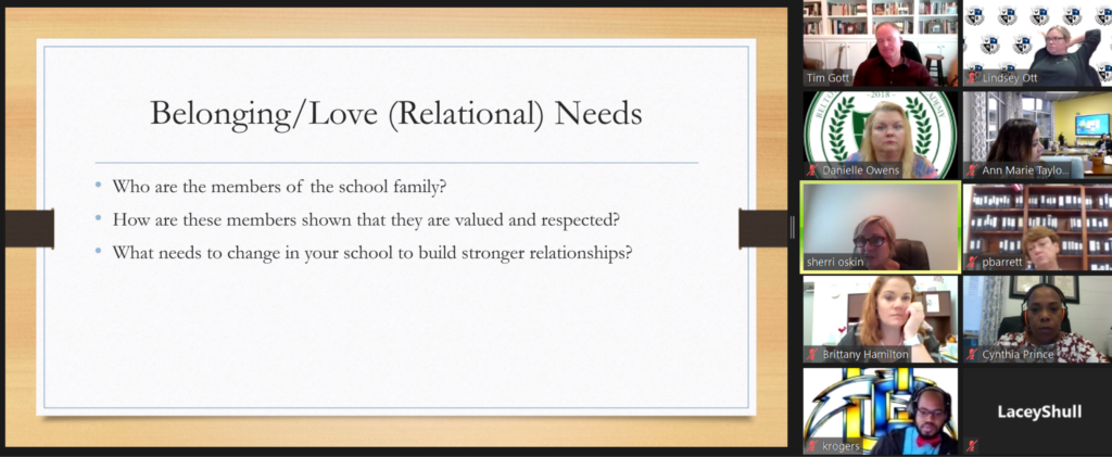 PowerPoint slide listing relationship needs in creating a healthy work culture.